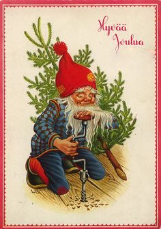 Christmas And New Year, Christmas Cards, Sankta Lucia, Christmas Knomes, Baumgarten, Paint Cards, Country Art, New Year Card, Gnomes