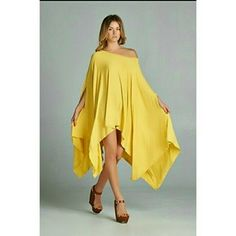 Loose Oversized Yellow Tunic Top/dress This gorgeous yellow assymetrical tunic top is just what you need! Goes well with pants, leggings, and denim and can also be worn as a dress. This top is also available in Ivory.  This is brand new without tags and one size fits most. Dresses