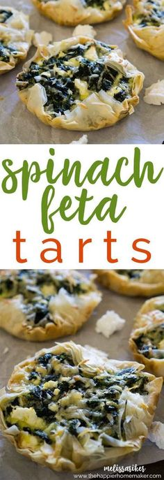 A greek style recipe to try! These spinach feta tarts are deceptively easy and make a fantastic appetizer or side dish-I even eat them for breakfast sometimes! The phyllo dough really makes the recipe so easy! Yummy Appetizers, Appetizer Recipes, Snack Recipes, Cooking Recipes, Snacks, Spinach Appetizers, Phyllo Appetizers, Phyllo Dough Recipes, Phylo Pastry Recipes