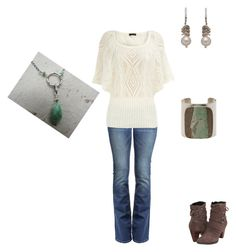 Casual Fall Chic by cloudyeyz on Polyvore featuring polyvore fashion style Dorothy Perkins True Religion Clarks Jody Candrian Wasabi Jewelry clothing sweater jeans casual white emerald