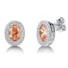 BERRICLE Rhodium Plated Sterling Silver Oval Cut Champagne Cubic Zirconia CZ Halo Stud Earrings *** Want to know more, click on the image.
