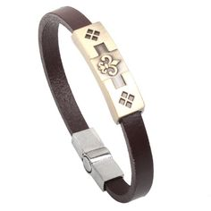 Prime Leader 2015 Fashion Leather Strap Bracelets Bangles Alloy Flowers Are For Love Bracelet Cuff For Women Men Brown Pulseiras >>> Startling review available here  : Gift for Guys