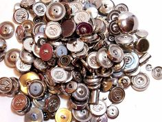 Mixed Silvertone Metal Buttons, New Old Stock Garment Buttons, 200 pieces Lot #3