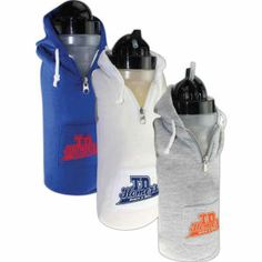 collegiate looking beverage container features an insulated hooded sweatshirt as a cover. The soft, poly-cotton fabric is fun to hold and has a front pocket for personal item storage from http://www.schoolspiritstore.com/