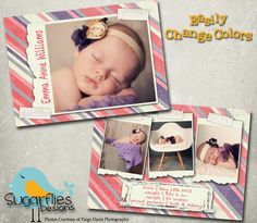 Baby Announcement Templates  Baby Girl by SugarfliesDesigns, $8.00