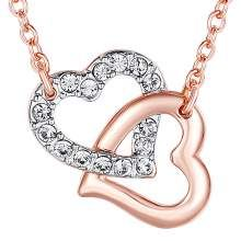 Rose Gold Swarovski Crystal Heart Necklace