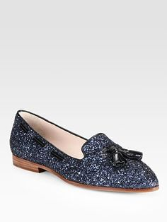 Miu Miu - Glitter Metallic Leather Smoking Slippers - Saks.com