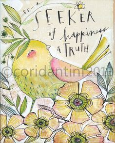 whimsical watercolor painting of a bird 8 x 10  archival by corid, $20.00