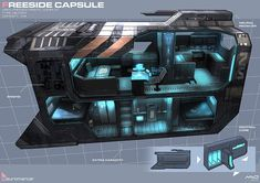 Concept art for a Freeside capsule from one of the classic dystopian novels, 'Neuromancer.' Found onimgur - Curated bywww.flotillaonline.com