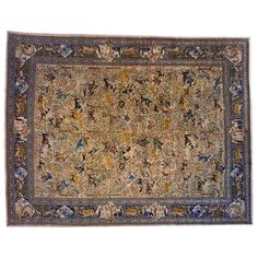 Antique Persian Tabriz Hunting Design Carpet | From a unique collection of antique and modern persian rugs at https://www.1stdibs.com/furniture/rugs-carpets/persian-rugs/