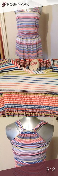 "Multicolored Striped Sundress Elastic waist. Shoulder seam to hem 35"". From bottom of waistband to hem 13"". Bust 32"". Mossimo Supply Co Dresses"