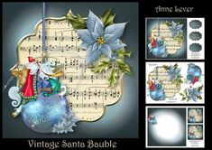 Vintage Santa Bauble on Craftsuprint designed by Anne Lever - This lovely mini kit makes an 8x8 square topper with decoupage, two greetings, a blank greetings tile, two gift tag toppers and a matching insert. It features a vintage santa bauble with a blue poinsettia on a sheet music plaque. - Now available for download!