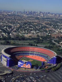Shea Stadium, Aerial View, Ny Mets Photographic Print by Bruce Clarke at Art.com