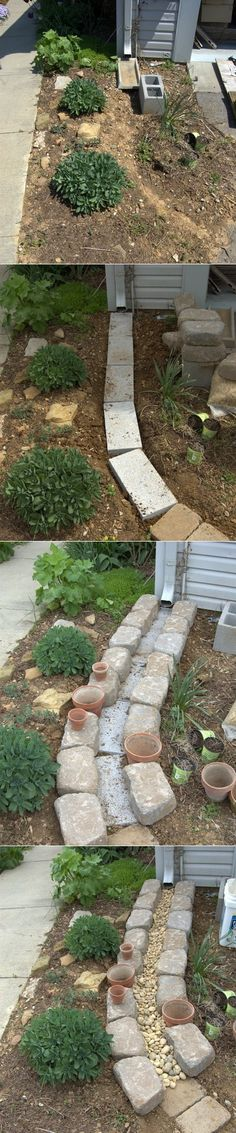 Here's what you'll need : A set of plain gray 2″x8″x16″ concrete stones form the base layer. The channel is created by retaining wall blocks set as the borders. Inside the channel Rock pebbles will add that decorative touch that disguises the gray blocks. via : growing the home garden
