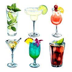 Yammi watercolor sets on Behance drink Watercolor Food, Watercolor Paintings, Food Illustrations, Illustration Art, Cocktails Drawing, Cute Food Art, Food Sketch, Geniale Tattoos, Food Painting