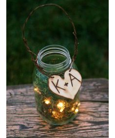 Mason jar, fairy lights, moss, wire