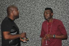 TALKE Tv Interview Host, Femi Ipadeola and Co-owner Latitude Lounge, Morakinyo Tytbones enjoy a chit-chat after the Interview