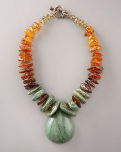 Beaded Jewelry Necklaces have become chunkier, crazier recently, featuring a mix of semi-precious stone beads, with or without metal accents. Chunky Jewelry, Amber Jewelry, Statement Jewelry, Wire Jewelry, Jewelry Art, Beaded Jewelry, Jewelery, Jewelry Accessories, Jewelry Necklaces