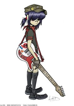 gorillaz outfit inspiration - Noodle's most common, key components in her outfits consist of hats, shorts, boots, knee high socks, and bandannas.
