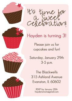 50 best cupcake invitations images on pinterest cupcake little cupcakes invitation cupcakes printable invitation design custom wording jpeg file stopboris Image collections