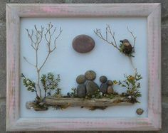FREE SHIPPING! This will be made to order. Such a precious piece depicting a couple (or any two pebble people) with their two CATS on the beach by the ocean NOTE: when ordering, you can request DOGS, people - basically anything ! The background is handpainted in acrylics, and is set in an open 8.5x11 wood frame that is also painted in acrylics, and given a distressed look. Thank you so much for looking. Please message with any questions....P.S. I love special requests! Dont forget to chec...
