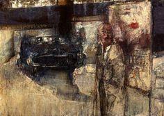 """Renzo Vespignani, """"La bocca sulla strada"""", 1959, olio e tecnica mista su tavola, Roma, collezione privata."""