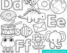 Alphabet Digital Stamps Part 1 ABC clip art by pixelpaperprints