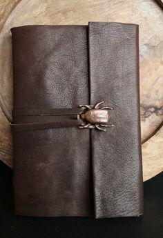 Scarab Long Stitched Leather Journal by IsabelAugustoDesigns, $89.00