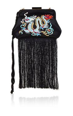 Lauren Satin Embroidery Dragon with Fringe - Edie Parker Resort 2016 - Preorder now on Moda Operandi