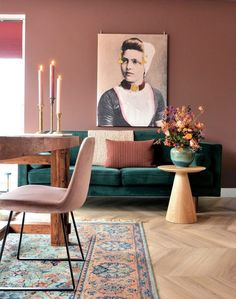 Warm Home Decor, Green Home Decor, Home Office Decor, Living Room Interior, Home Living Room, Living Room Decor, Colourful Living Room, Living Room Colors, Wall Color Combination