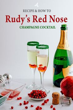 Rudy's Red Nose - Champagne Christmas Cocktail with Rimming Sugar   Dell Cove Spices   Custom cocktails are all the rage, but they can either be a huge hit - or a huge miss - with your guests. Champagne to the rescue! Sparkling wine is well loved and few people turn it down. Rudy's Red Nose is our twist on a classic Christmas champagne cocktail, one that is fun to make. Even better, both your male and female guests will love this drink.