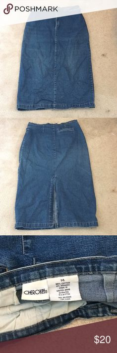 Jean skirt! Cute jean skirt! Has a slit - awesome condition size 14 Cherokee Skirts