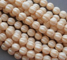 25 8 mm Czech glass beads opaque Champagne by GloriousGlassBeads