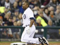 Tigers designated hitter Delmon Young looks on in disgust after being tagged out at third by the during the sixth inning of the Tigers' 10-3 loss to the Rangers Thursday night at Comerica Park.  (Young had no right going for 3rd.  He was out by a mile.)