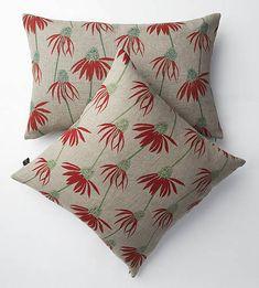 irish linen hand-printed cushions echinacea by trisha needham | notonthehighstreet.com
