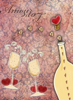 What my Wine says to me! by Jennifer Cook, via Behance (Wine Bottle & glass Art) #winelove #swirl #cCreams #cRed