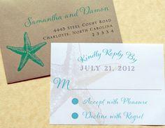 Beach Wedding Invitations - Beach, Starfish, Tropical, Destination Wedding, Wedding Invitations, Suites, Belly Bands. $6.00, via Etsy.