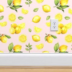Pink Wallpaper Roll, Fish Wallpaper, Kitchen Wallpaper, Perfect Wallpaper, Custom Wallpaper, Green Palette, Colour Pallette, Pink Cabinets, Yellow Office