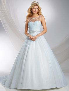 Alfred Angelo Cinderella Style 244: tulle and glitter net ball gown wedding dress with draped bodice and sheer yoke (also available in ivory and white)