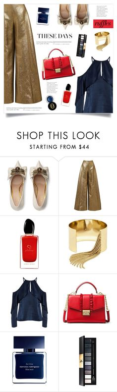 """""""These Days"""" by marina-volaric ❤ liked on Polyvore featuring Gucci, Reem Acra, Giorgio Armani, BaubleBar, Cushnie Et Ochs, MICHAEL Michael Kors, Narciso Rodriguez, Yves Saint Laurent, ruffles and RuffLyfe"""