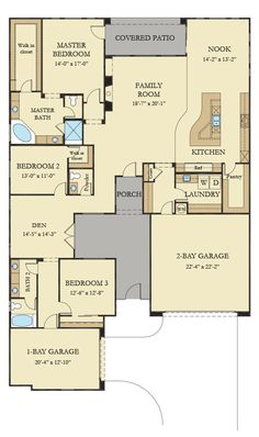 The 2,753 sq. ft. Monroe from @lennarlasvegas welcomes guests into a courtyard that leads them to an open family room with a fireplace, a kitchen and a dining nook. The spacious master suite features a walk-in closet, dual sinks, a relaxing garden-style soaking tub and separate shower. Toward the front of the Monroe is a den and a bedroom with a walk-in closet. At the front of the Monroe is a third bedroom, a full bathroom and a separate 1-bay garage.