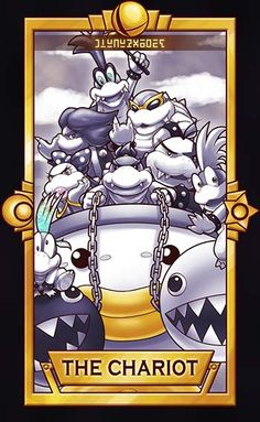 Bowser Jr and the Koopalings with a black and white Chomp-Chomp / Wan-Wan ============================= For more Super Smash Tarot Cards, please&nb. Bowser Jr - The Chariot Super Smash Bros 3ds, Super Mario Bros, The Legend Of Zelda, Mundo Super Mario, Super Smash Ultimate, Video Game Art, Video Games, Nintendo Characters, Pokemon