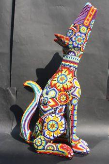 Paper Mache Figure Sculpture | XXL HUICHOL PAPER MACHE COYOTE ANIMAL FIGURE MEXICAN NATIVE ETHNIC ...