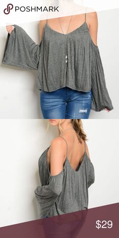 New Charcoal Gray Cold Shoulder Boho Top Long sleeve open shoulder jersey tunic top  96% Rayon 4% Spandex  Available in small, medium, and large  True to size fit  New without tags by boutique label Sage Tops Blouses
