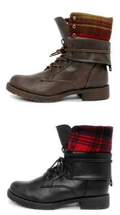 Flannel Convertible Combat Boots