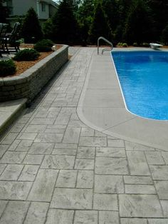 Rochester Ny stamped concrete pool deck