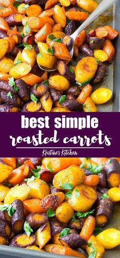 These carrots are so simple to make for a holi… Easy oven roasted carrots recipe. These carrots are so simple to make for a holiday meal or weeknight dinner! Oven Roasted Carrots, Carrots And Potatoes, Recipe For Roasted Vegetables, Carrots Oven, Healthy Side Dishes, Side Dish Recipes, Oven Dishes Recipes, Vegan Recipes, Bon Appetit