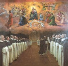 The picture shows Dominican Friars singing the Night Office with Our Lady watching over them as they sign the Salve Regina– Hail Holy Queen!