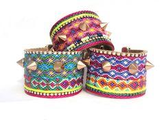 Friendship bracelet spikes cuff  AW2012  neon spike by OOAKjewelz