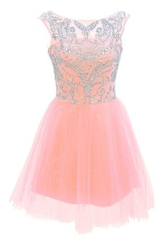 2016 New Fashion Short Pink Prom Dresses A Line Silver Beaded Glitter Tulle Homecoming Dress For Sum on Luulla